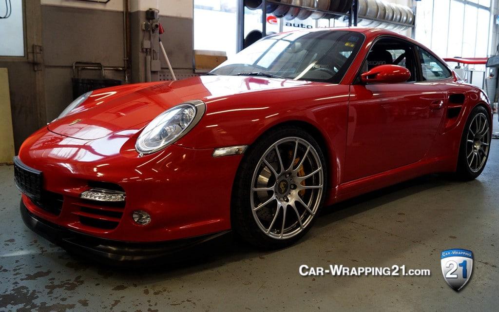 Autofolierung Porsche 997 Turbo Folie Chili Rot Red Folierung Folieren