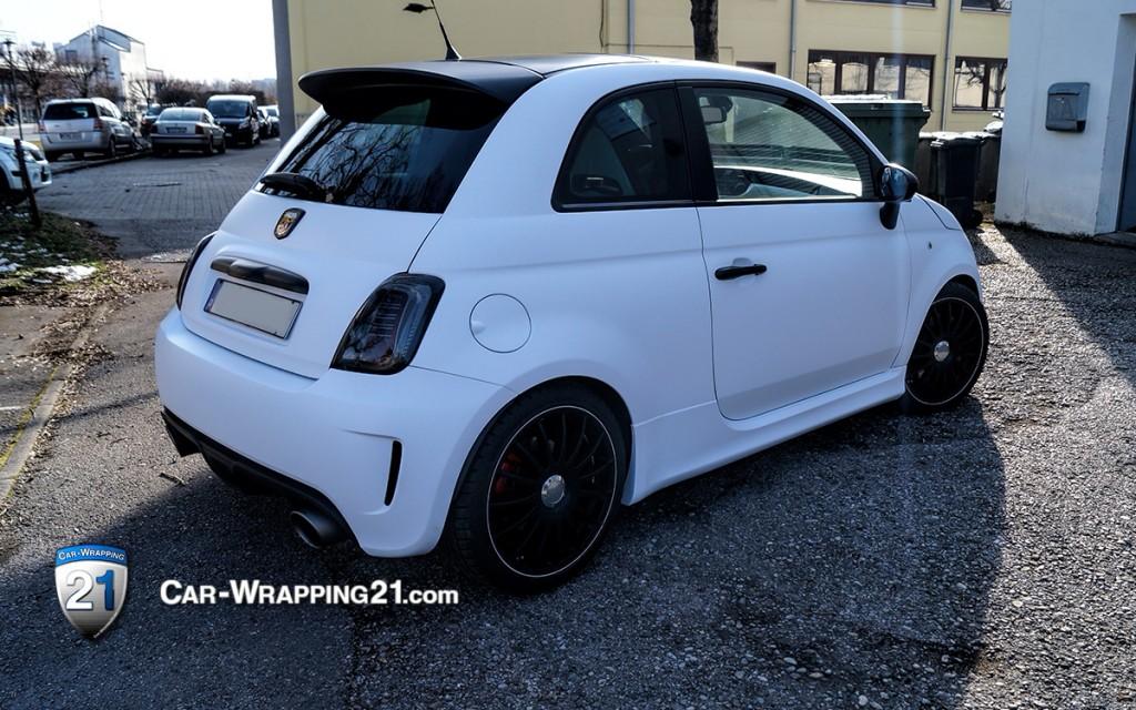 Auto Folieren Fiat Abarth 500 Weiß Matt