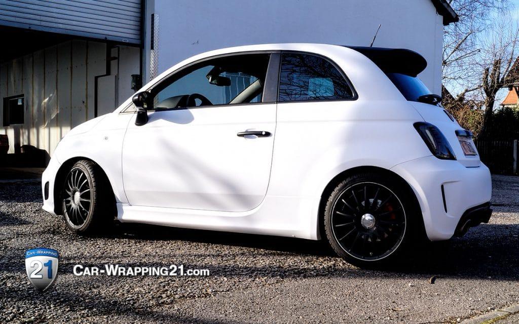 Autofolierung Fiat Abarth 500 Weiß Matt