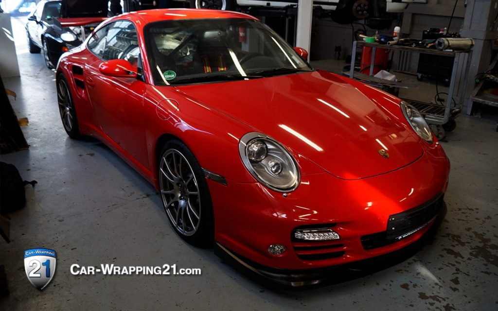 Folierung Porsche 997 Turbo Folie Chilly Rot Red Car Wrapping Kfz Folierung