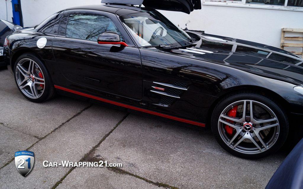 Schweller folieren folierung Mercedes SLS AMG Folie Rot Red