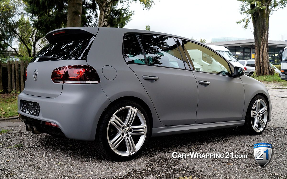 vw golf folie grau matt combat grey car wrapping 21. Black Bedroom Furniture Sets. Home Design Ideas