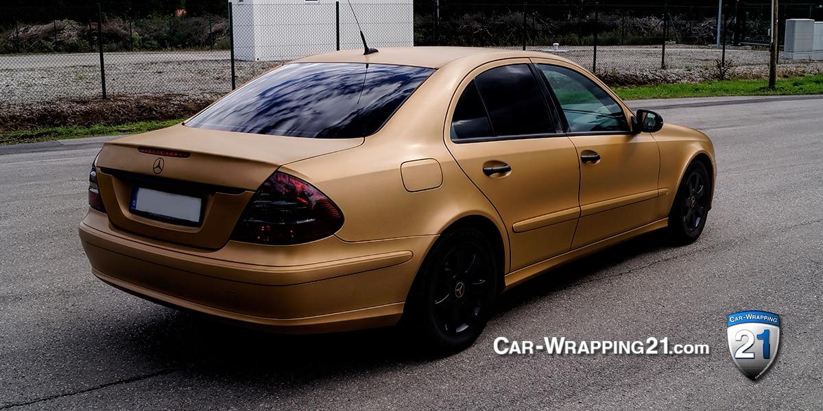 Folierung Mercedes E-Klasse Brushed Gold Car Wrapping 21 München
