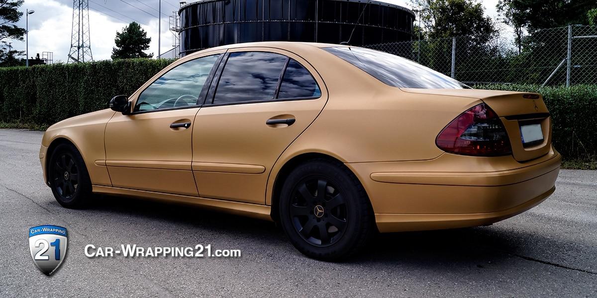 Autofolierung Mercedes E Klasse Autofolie Brushed Gold 3M Left Car Wrapping 21 München