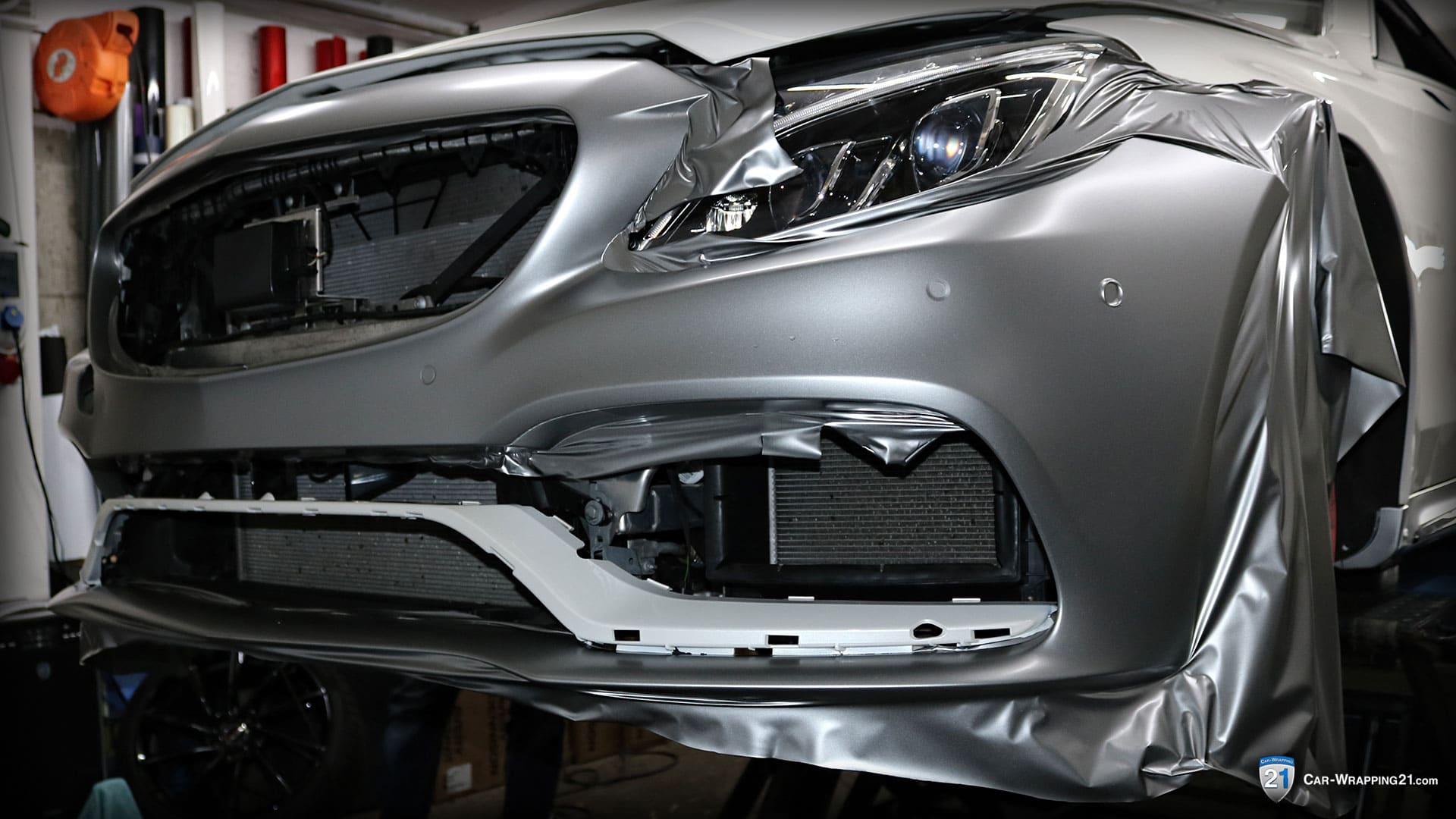 Mercedes-Benz-C63-Amg-Vollfolierung-Avery Satin Metallic Light Grey V8-Cabrio-2016