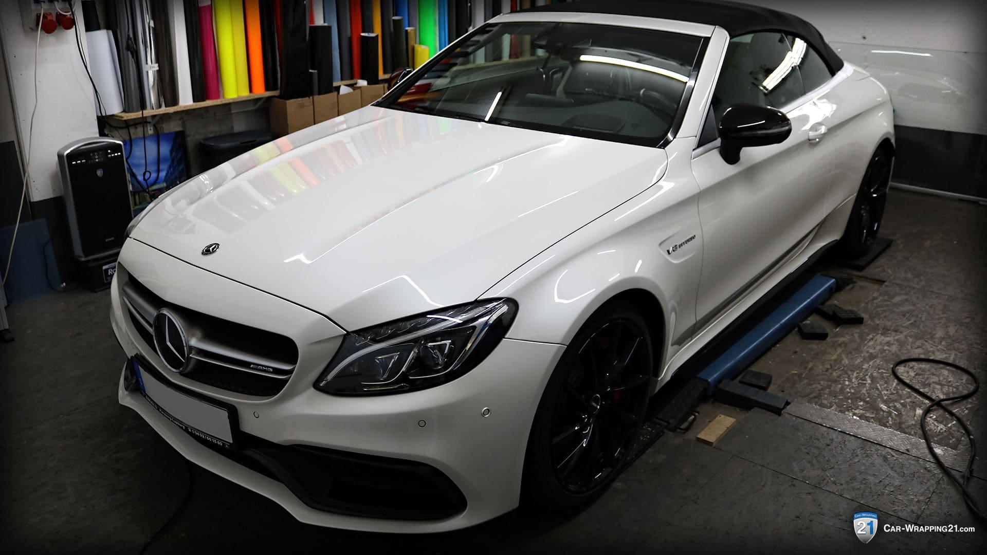 Mercedes-Benz-C63-Amg-Vollfolierung-Avery Satin Metallic Light Grey Vorher-V8-Cabrio-2016