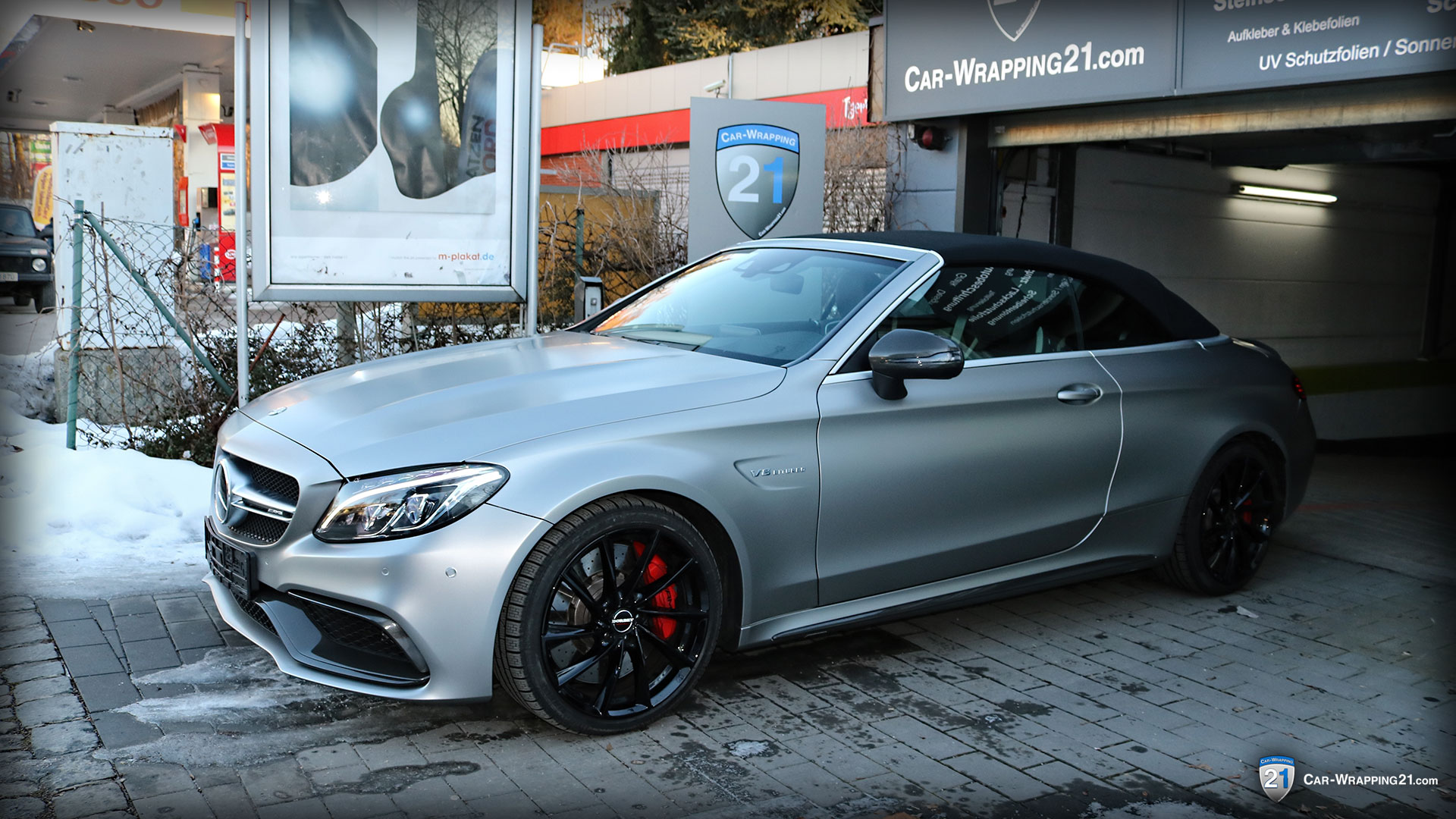 Mercedes-Benz-C63-Amg-Vollfolierung-mit-Einstiege-Avery Satin Metallic Light Grey V8-Coupe-2016